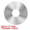 HSS Saw Blade, 50mm 72 Tooth Circular Cutting Wheel 0.8mm Thick w 16mm Arbor