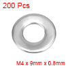 200Pcs 4mm x 9mm x 0.8mm 304 Stainless Steel Flat Washer for Screw Bolt