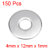 150 Pcs 12mm x 4mm x 1mm 304 Stainless Steel Flat Washer for Screw Bolt