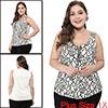 Women's Plus Size Lace Sleeveless Zipper Tank Top White 1X