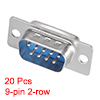 D-sub Connector Male Plug 9-pin 2-row Port Terminal Solder Type Blue 20pcs