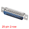 D-sub Connector Male Plug 25-pin 2-row Port Terminal Solder Type Blue 1pc