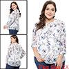 Agnes Orinda Women's Plus Size Ruffle Floral Chiffon Blouse with Cami White 2X