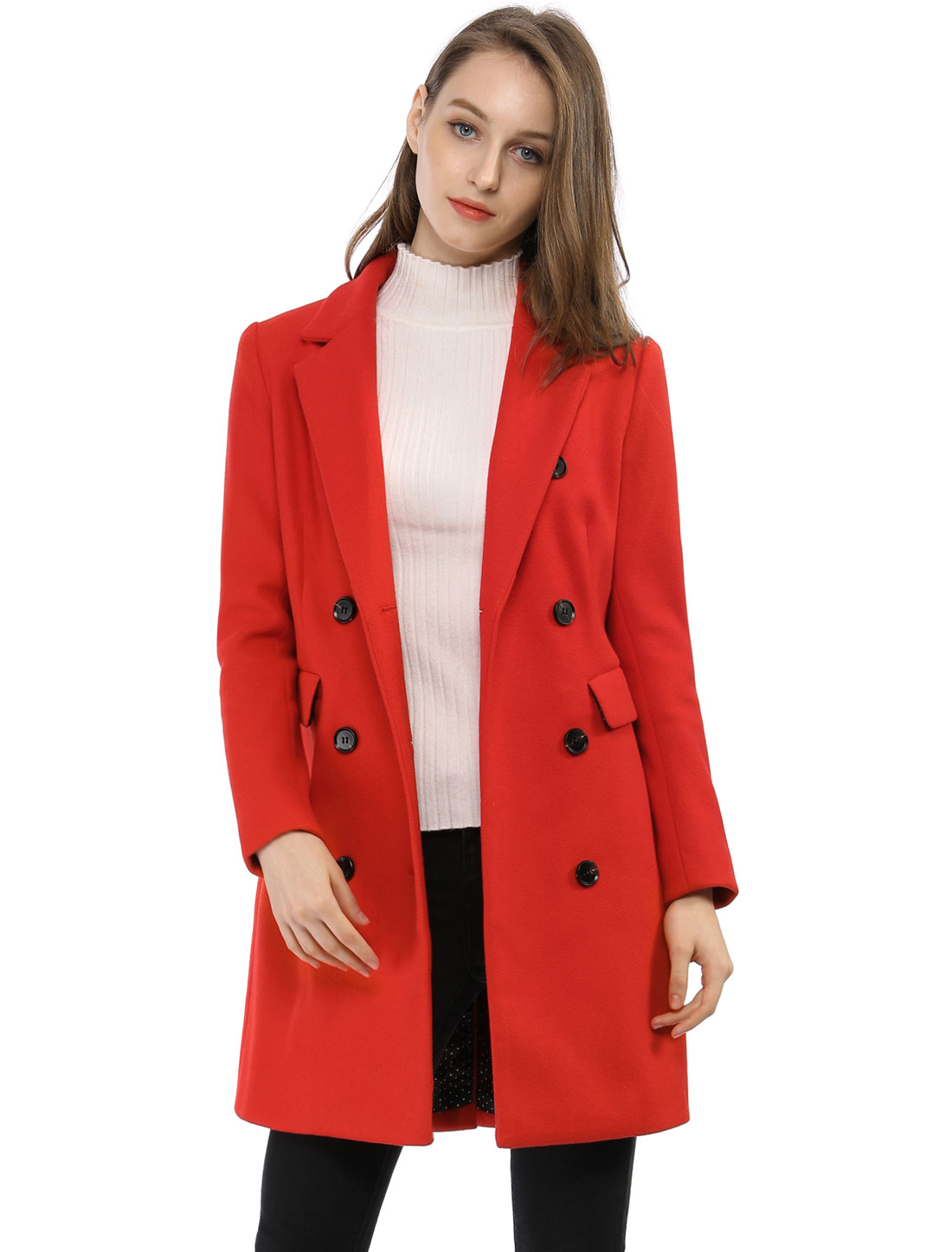 Women Notched Lapel Double Breasted Trench Coat Red-1 XL