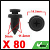 80pcs 9mm Hole Black Plastic Auto Push Rivet Interior Trim Panel Car Door Clips