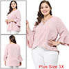 Women's Plus Size Loose Top Ruffle Blouse Pink 3X