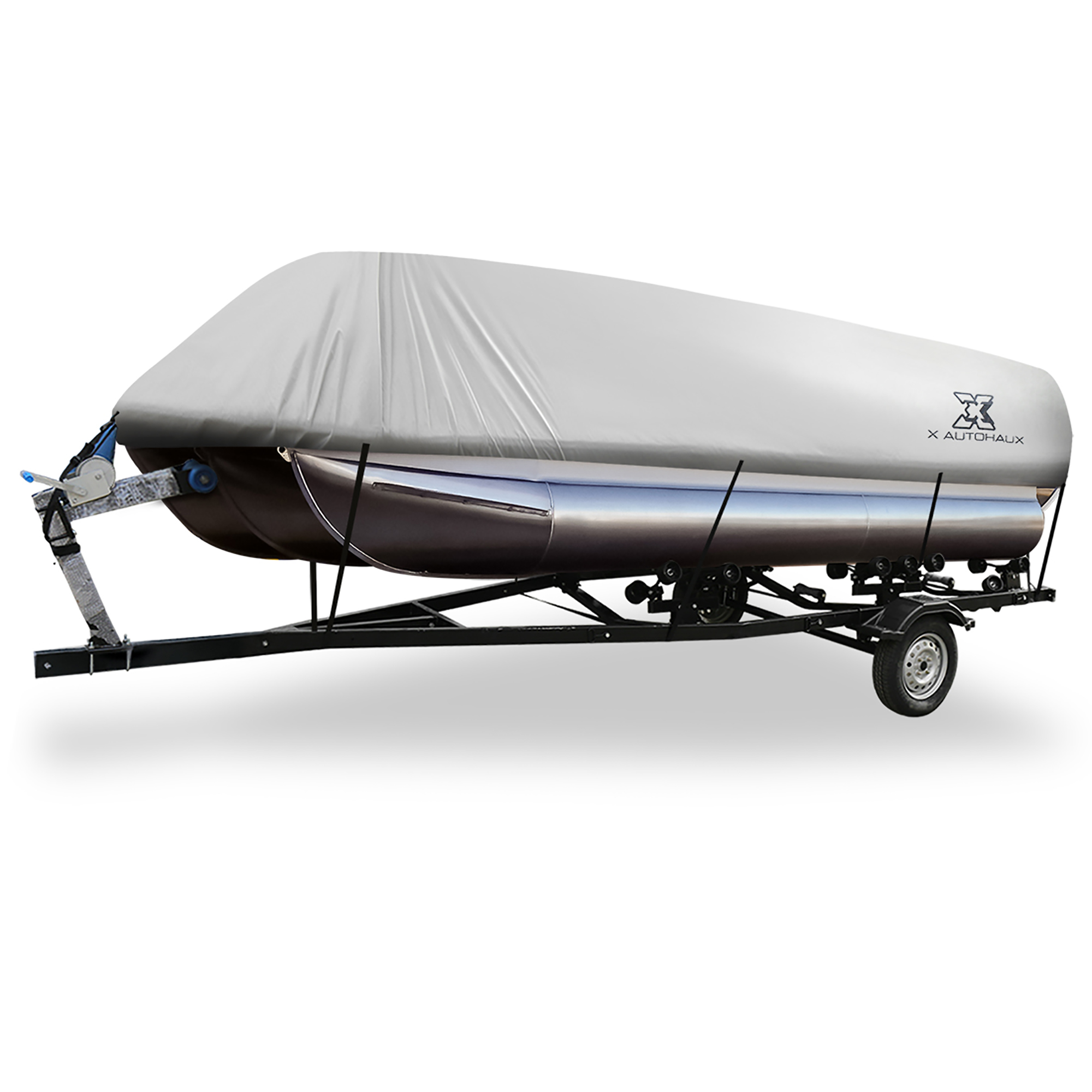 Gray 17-20ft 300D Boat Cover Waterproof Trailerable for Square Shape Boats
