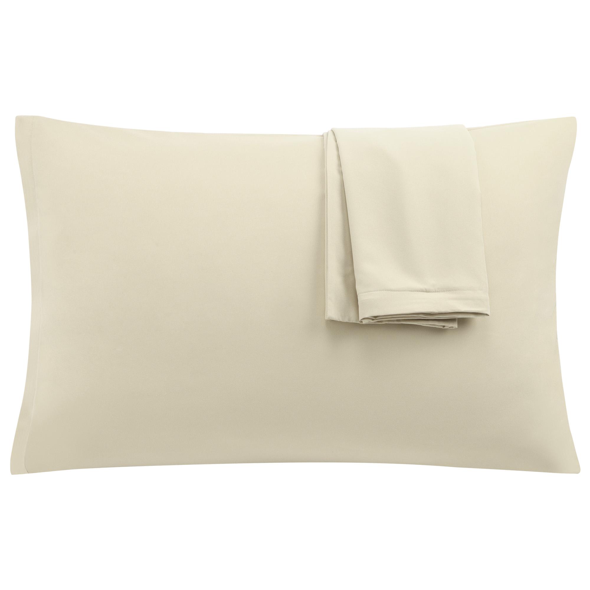 Khaki Pillowcases Soft Microfiber Pillow Case Cover with Zipper Standard, 2 Pack