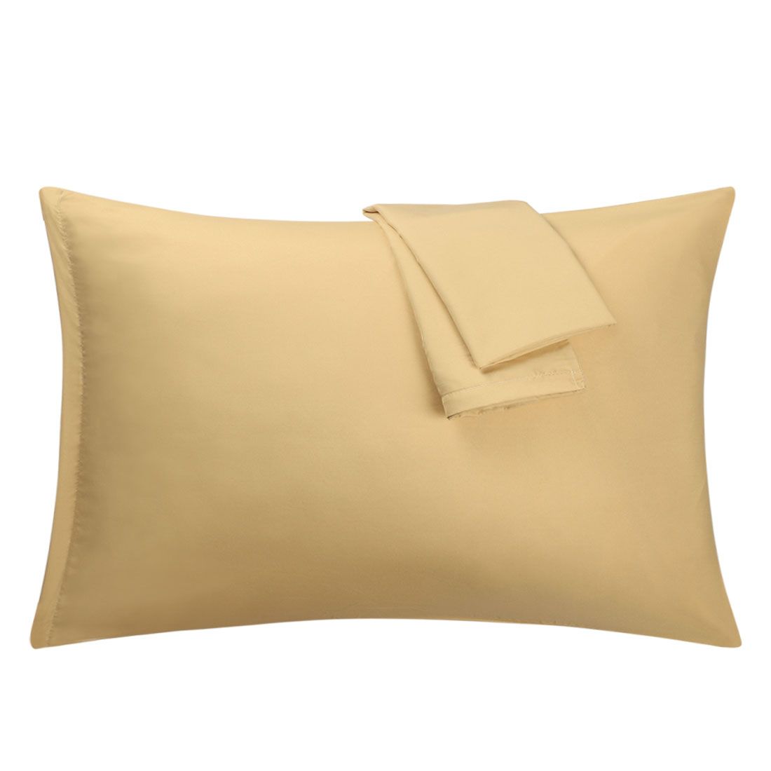 Gold Pillowcases Soft Microfiber Pillow Case Cover with Zipper Queen, 2 Pack