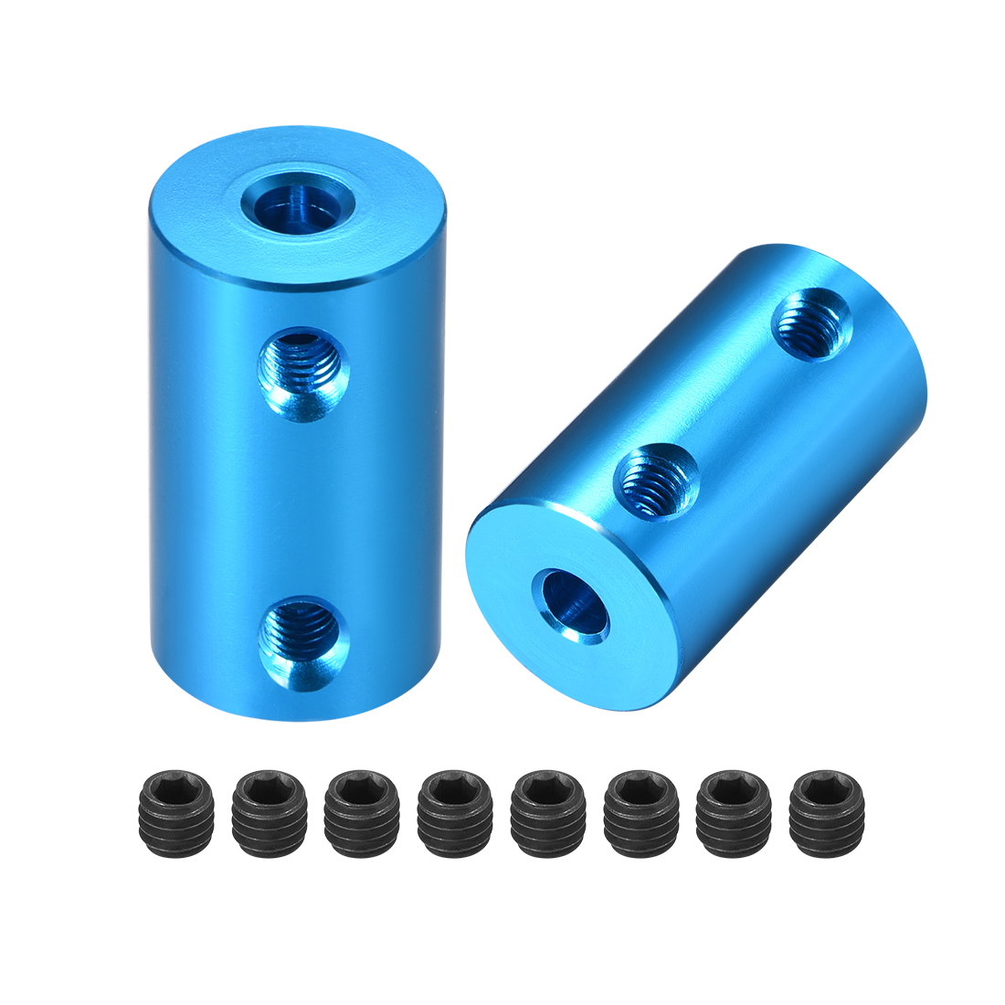 Shaft Coupling 4mm to 4mm L25xD14 Rigid Stepper Motor Wheel Coupler Blue 2 Pcs