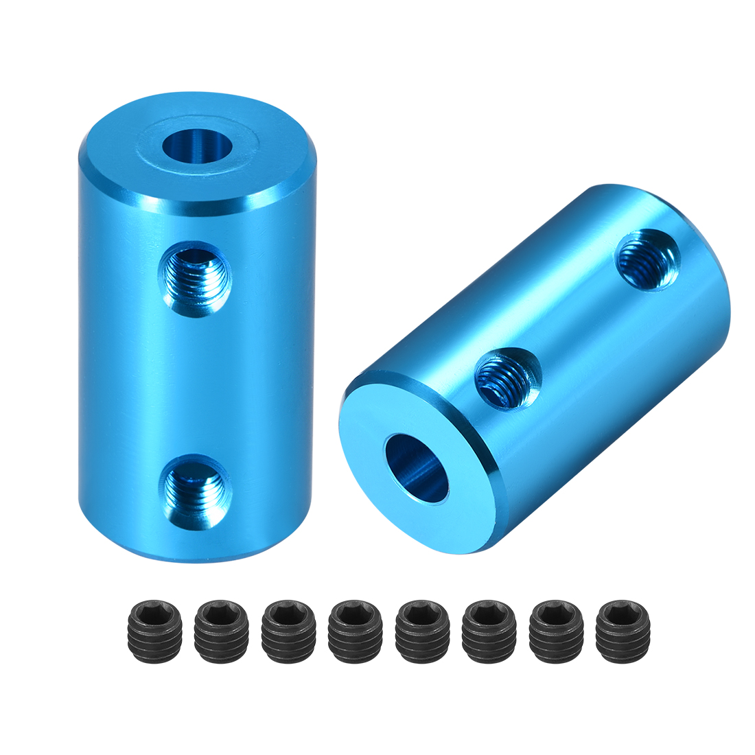 Shaft Coupling 4mm to 5mm Bore L25xD14 Robot Motor Wheel Rigid Coupler Blue 2Pcs