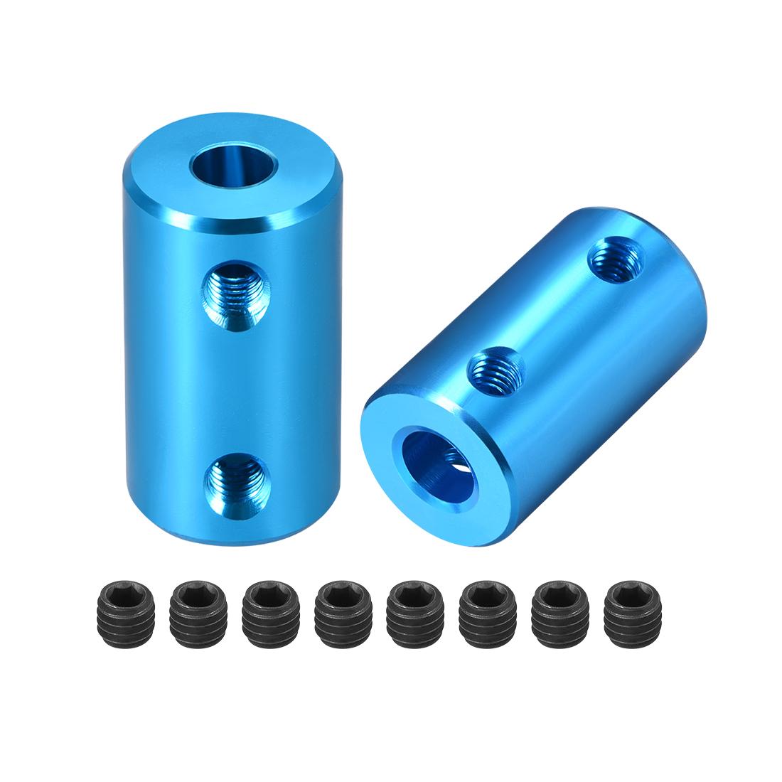 Shaft Coupling 5mm to 6mm Bore L25xD14 Robot Motor Wheel Rigid Coupler Blue 2pcs