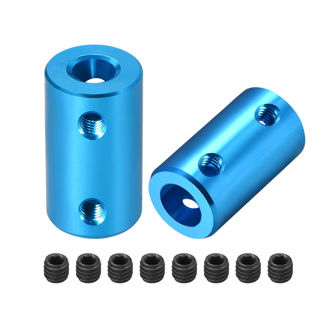 Shaft Coupling 6mm to 8mm L25xD14 Robot Motor Wheel Rigid Coupler Blue 2 Pcs