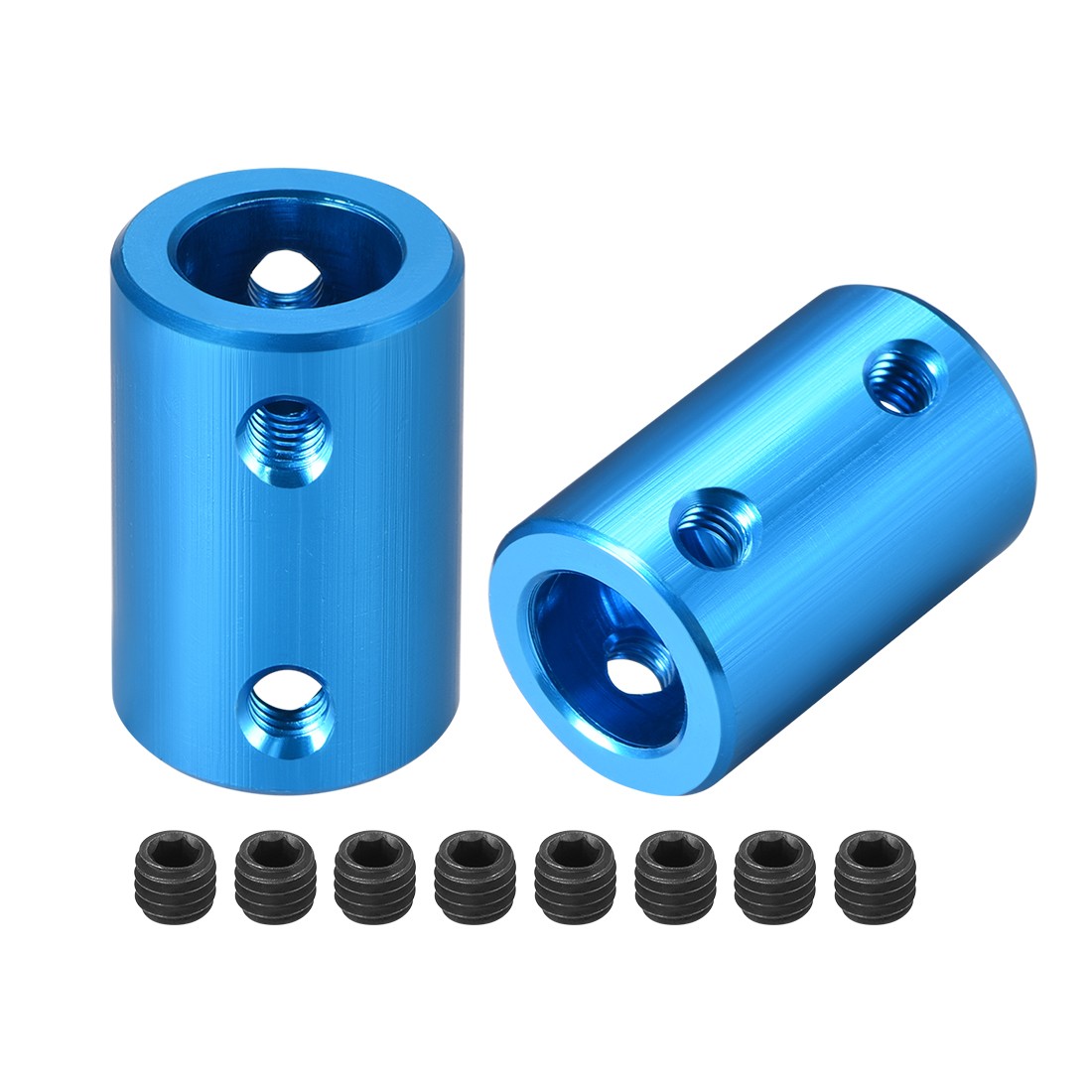 Shaft Coupling 10mm to 10mm L25xD16 Robot Motor Wheel Rigid Coupler Blue 2 Pcs