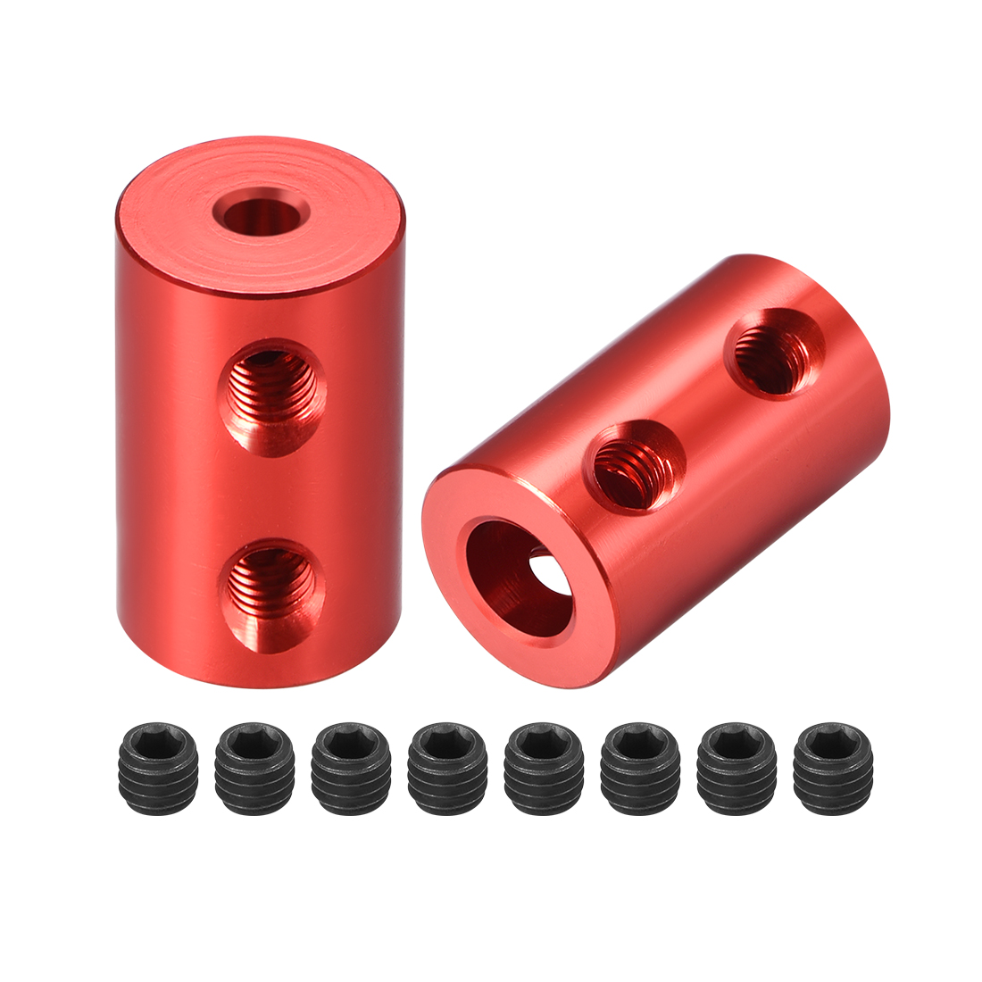 Shaft Coupling 3mm to 6mm Bore L20xD12 Robot Motor Wheel Rigid Coupler Red 2 Pcs