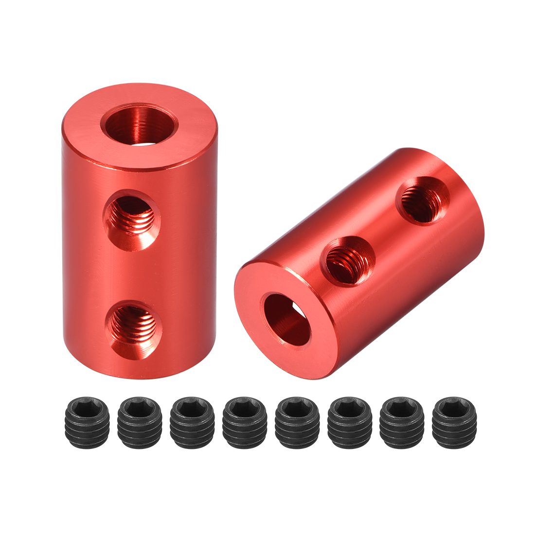 Shaft Coupling 5mm to 5mm Bore L20xD12 Robot Motor Wheel Rigid Coupler Red 2 Pcs