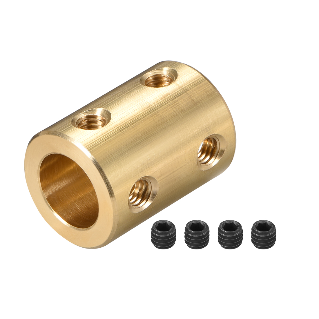 Shaft Coupling 8mm to 10mm L22xD16 Robot Motor Wheel Rigid Coupler Gold Tone