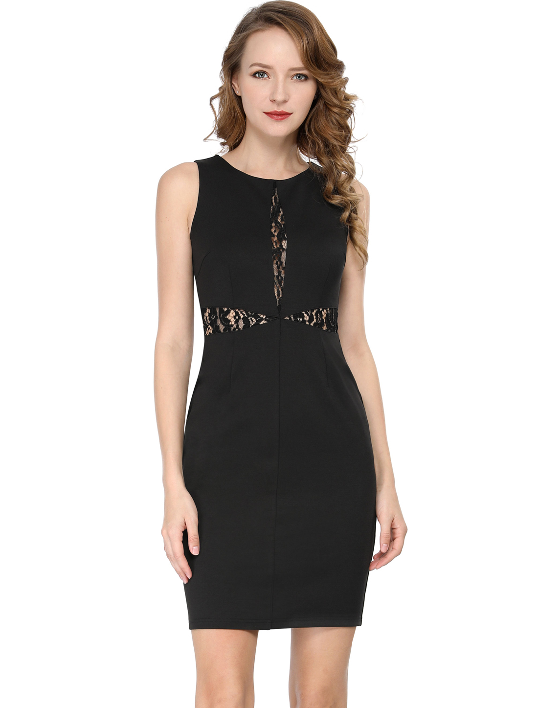 Allegra K Lace Front Cocktail Above Knee Little Black Dress Black M (US 10)