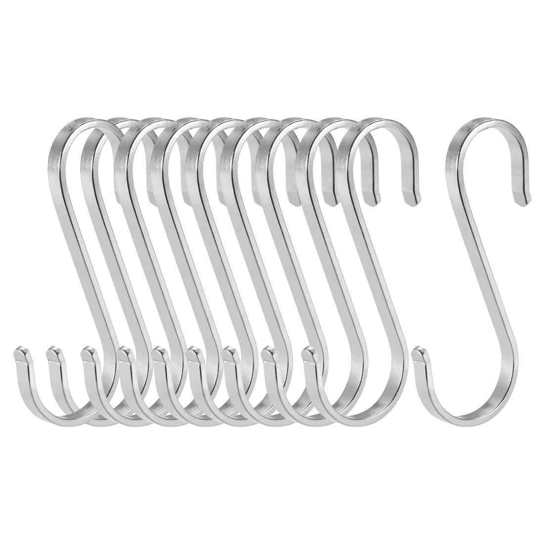 "Stainless Steel S Hooks 3.15"" S Shaped Hook Hangers Multiple Uses 10pcs"