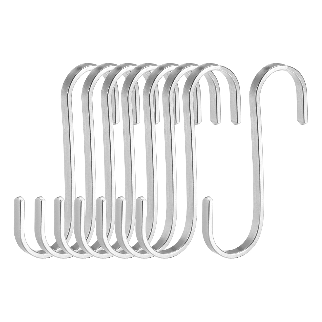 "Stainless Steel S Hooks 3"" Flat S Shaped Hangers Multiple Uses 8pcs"