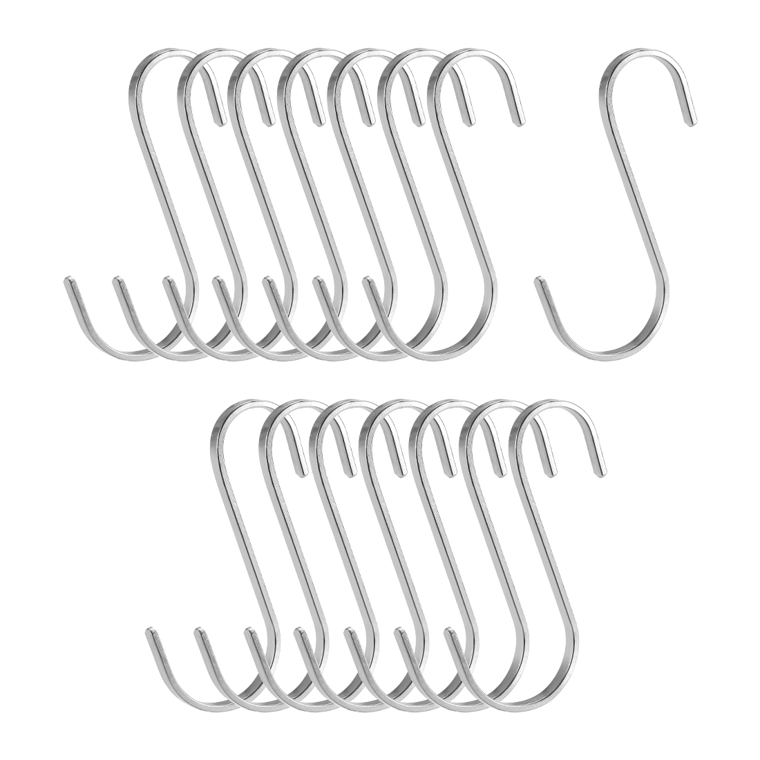 "Stainless Steel S Hooks 3.6"" Flat S Shaped Hanger Multiple Uses 15pcs"