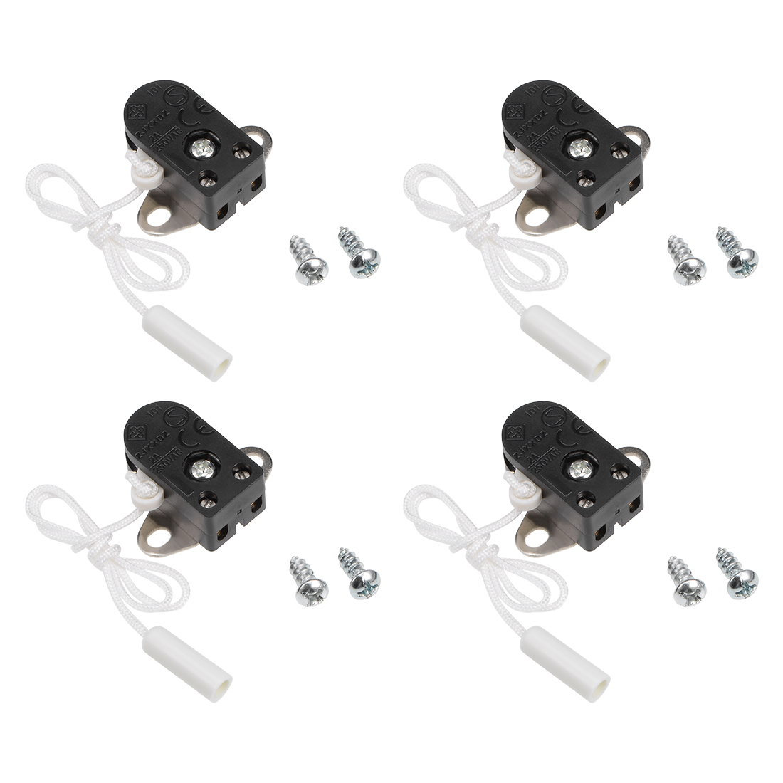 Pull Switch SPST AC 250V 2A for Ceiling Fan Light Lamp with 25cm Pull Chain 4pcs