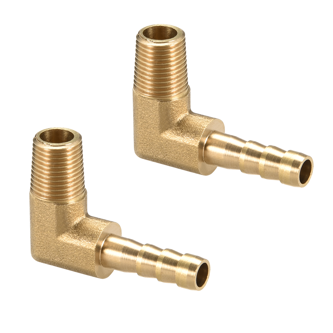 "Brass Barb Hose Fitting 90 Degree Elbow 6mm Barbed x 1/8"" G Male Pipe 2pcs"