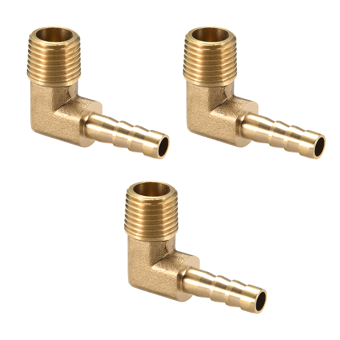 """Brass Barb Hose Fitting 90 Degree Elbow 6mm Barbed x 1/4"""" G Male Pipe 3pcs"""