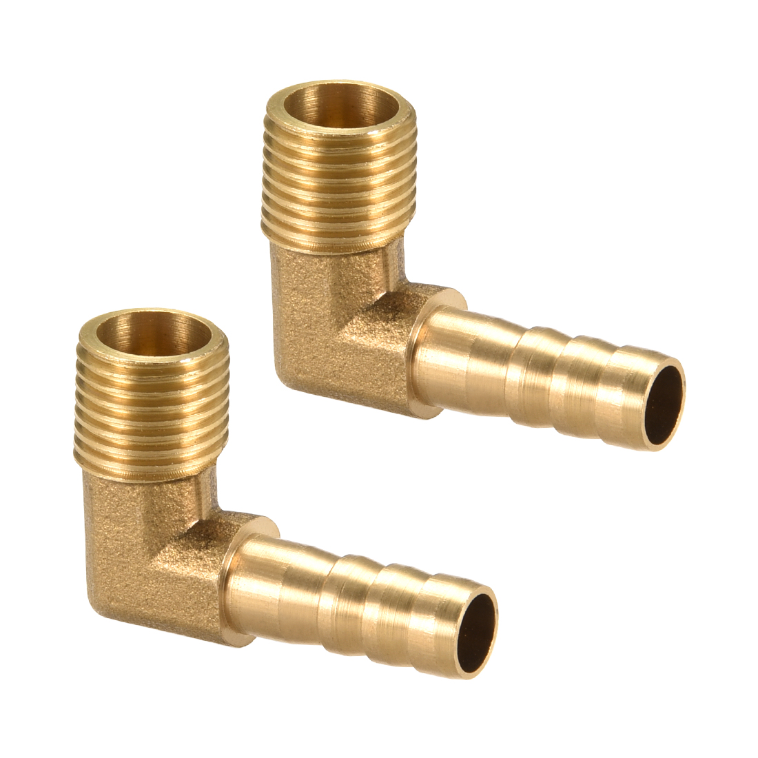 "Brass Barb Hose Fitting 90 Degree Elbow 8mm Barbed x 1/4"" G Male Pipe 2pcs"
