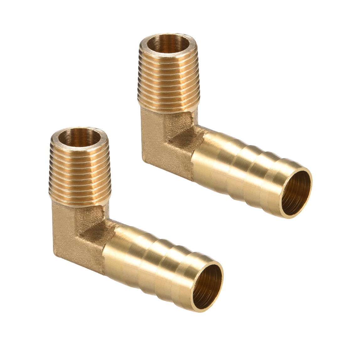 """Brass Barb Hose Fitting 90 Degree Elbow 12mm Barbed x 1/4"""" G Male Pipe 2pcs"""