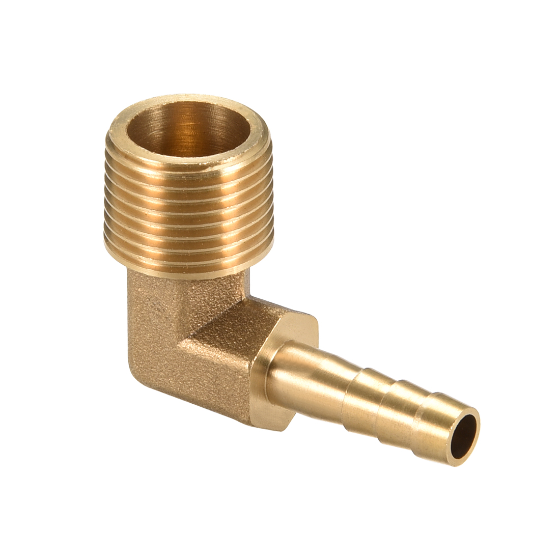 "Brass Barb Hose Fitting 90 Degree Elbow 6mm Barbed x 3/8"" G Male Pipe"