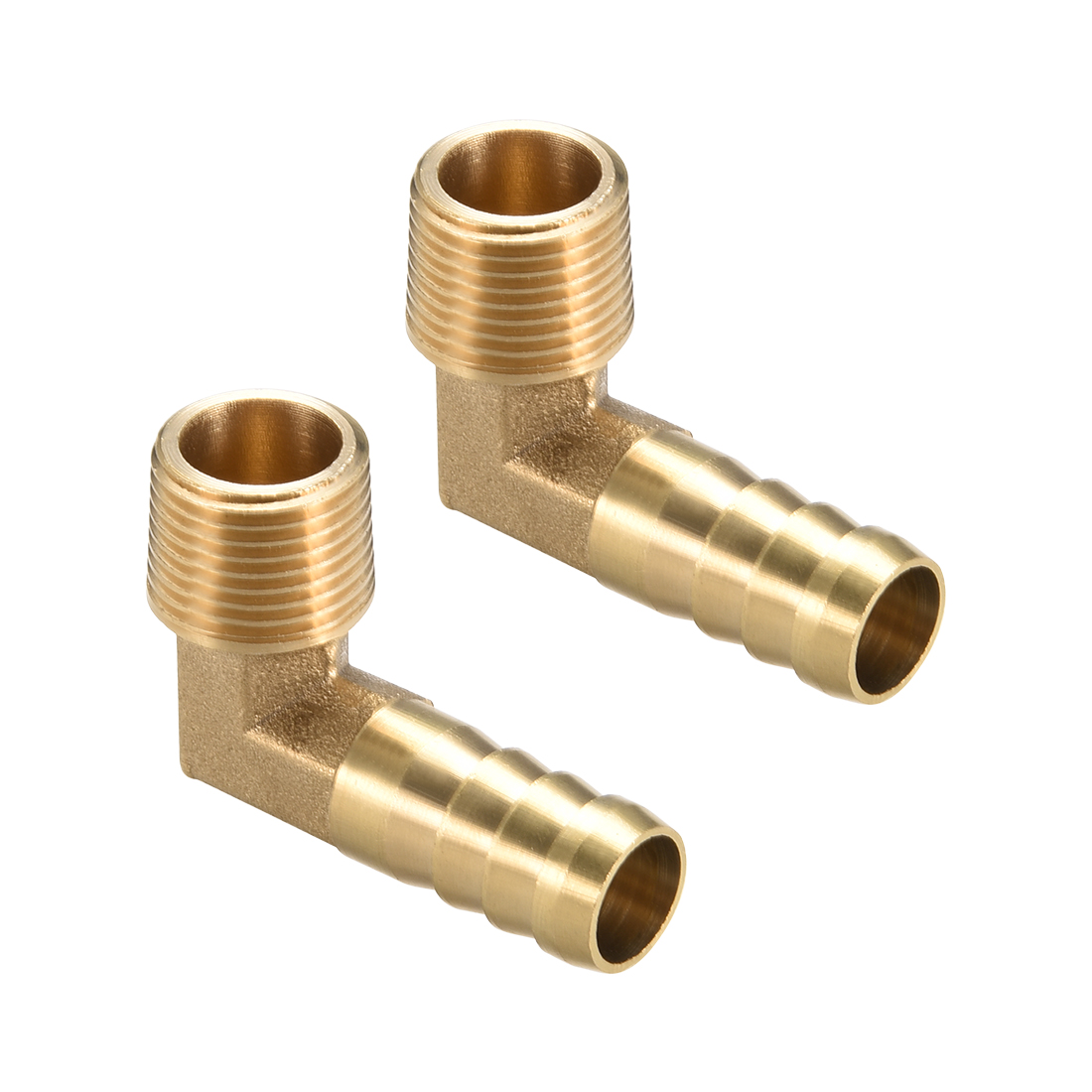 "Brass Barb Hose Fitting 90 Degree Elbow 12mm Barbed x 3/8"" G Male Pipe 2pcs"
