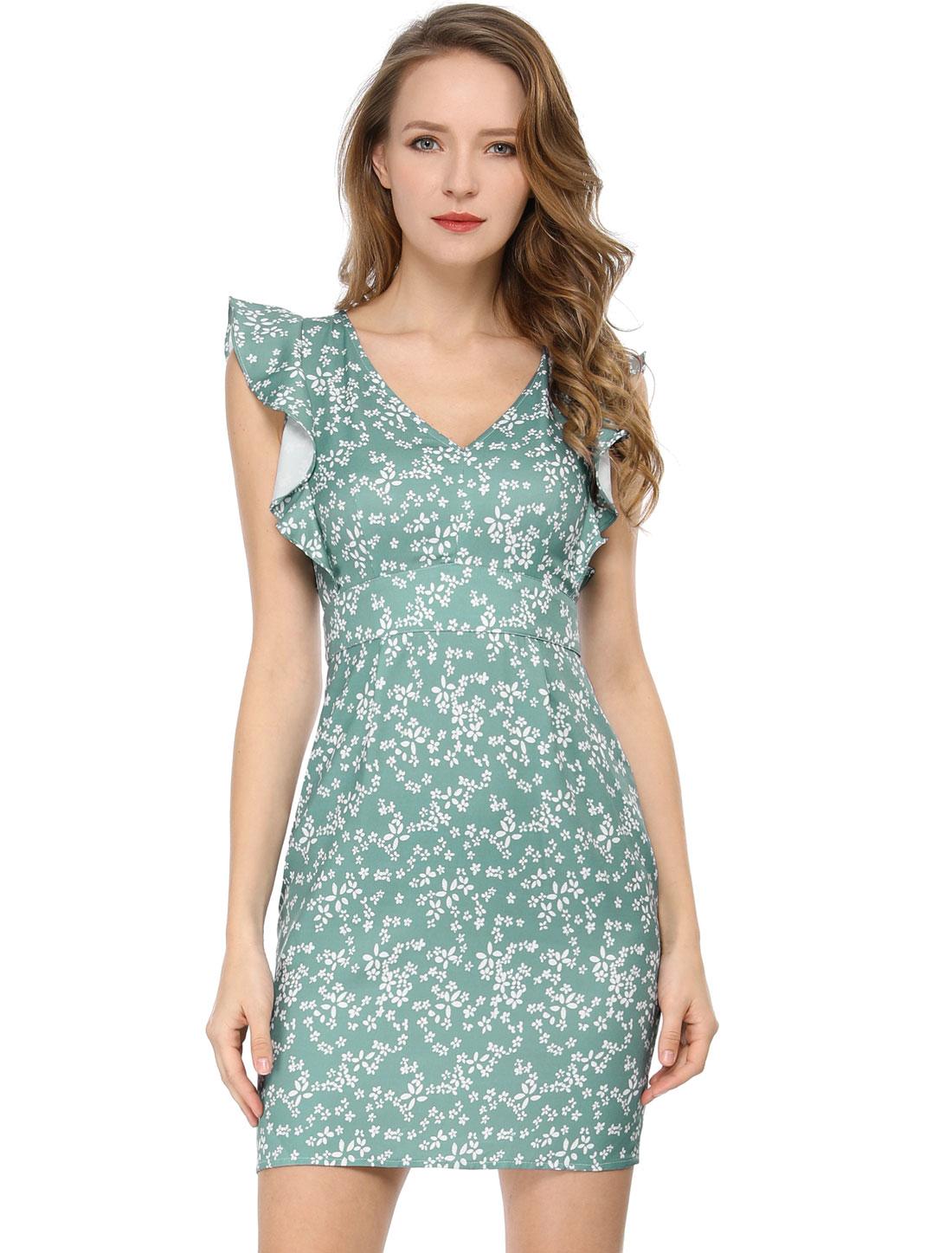 Allegra K Women's Floral Retro Ruffle Slim Bodycon Pencil Sheath Dress Green XS