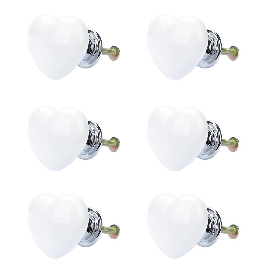 Solid Ceramic Knob Heart Shaped Drawer Pull Handle Cupboard Wardrobe 6pcs White