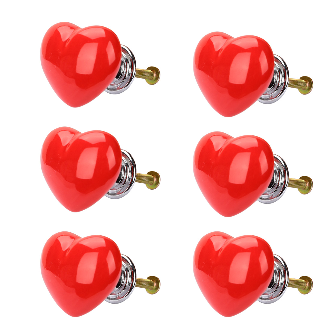 Solid Ceramic Knob Heart Shaped Drawer Pull Handle Cupboard Wardrobe 6pcs Red