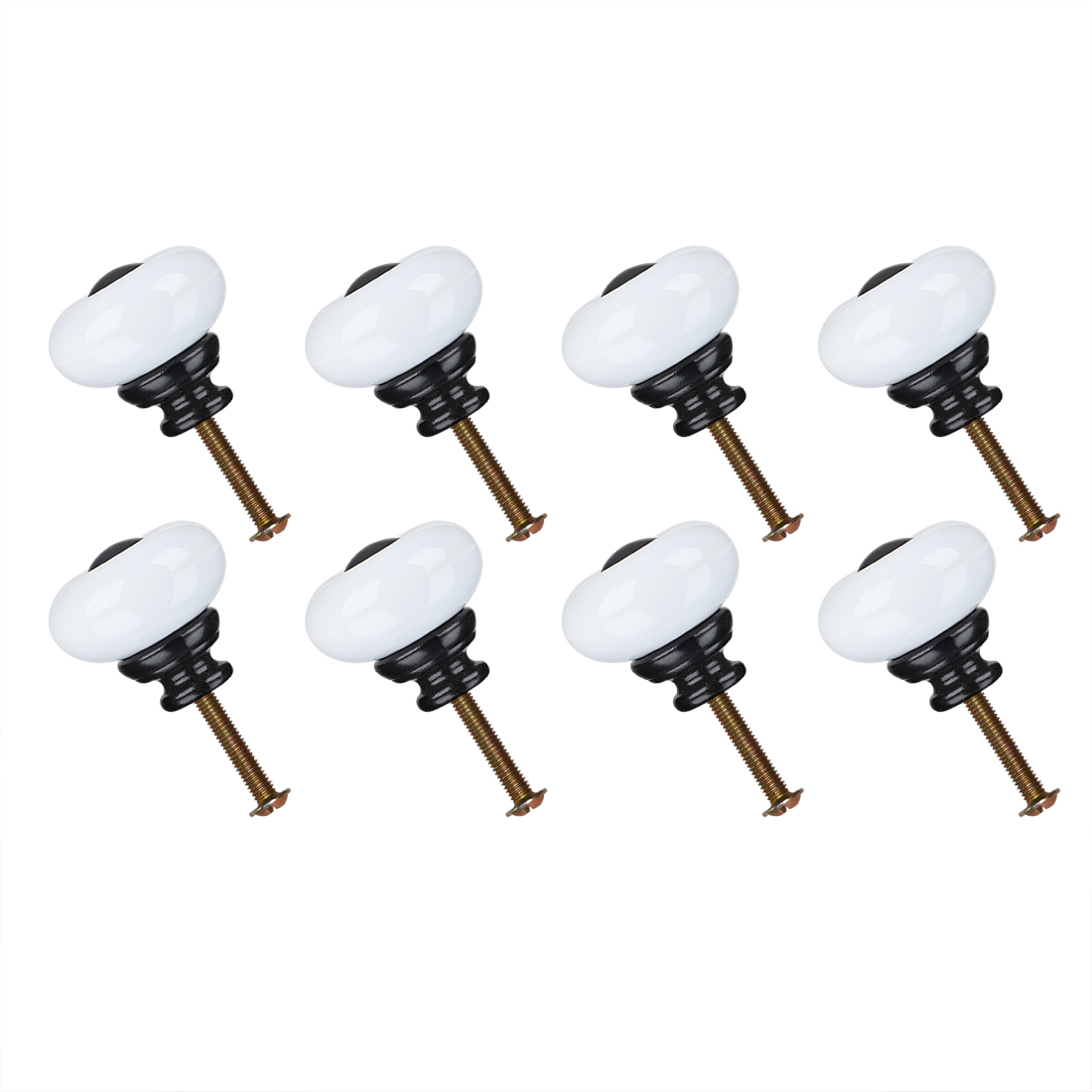 Ceramic Knob Pull Handle Furniture Dresser Wardrobe Cabinet Accessory 8pcs White