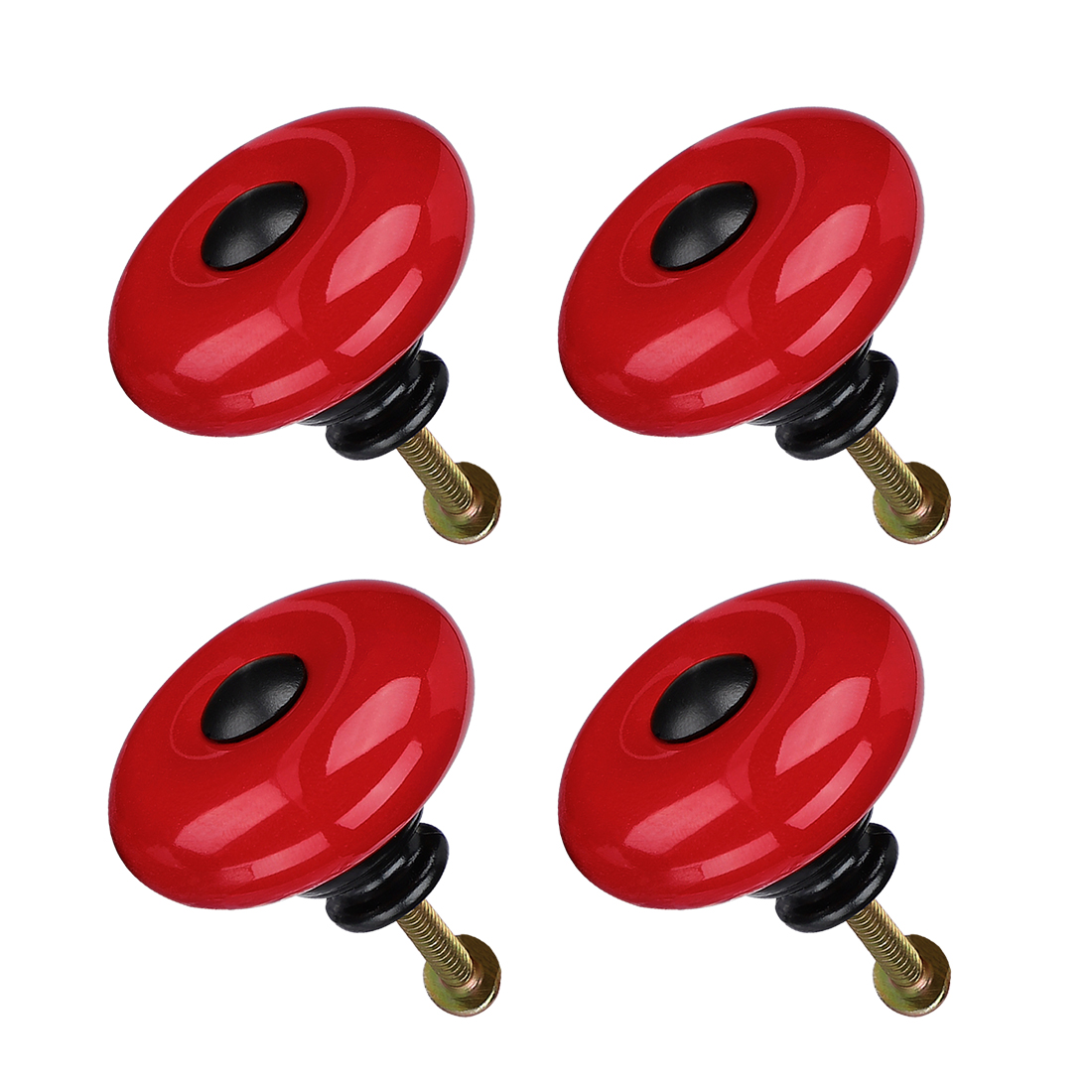 Ceramic Knob Handle Wood Dresser Wardrobe Cabinet Accessory 32mm Dia 4pcs Red