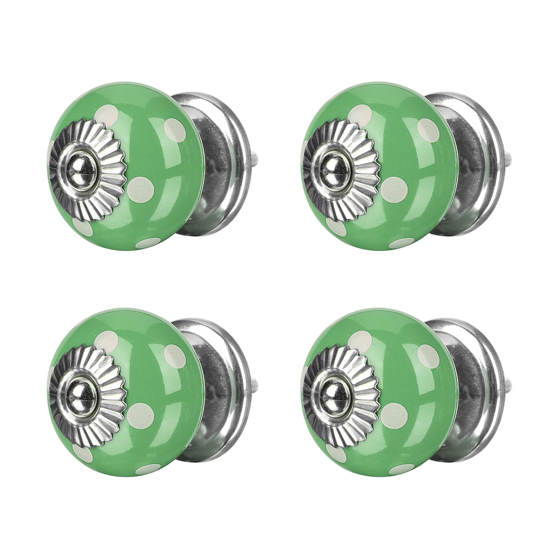 Ceramic Knobs Round Drawer Pull Handle Cupboard Wardrobe Replacement 4pcs Green