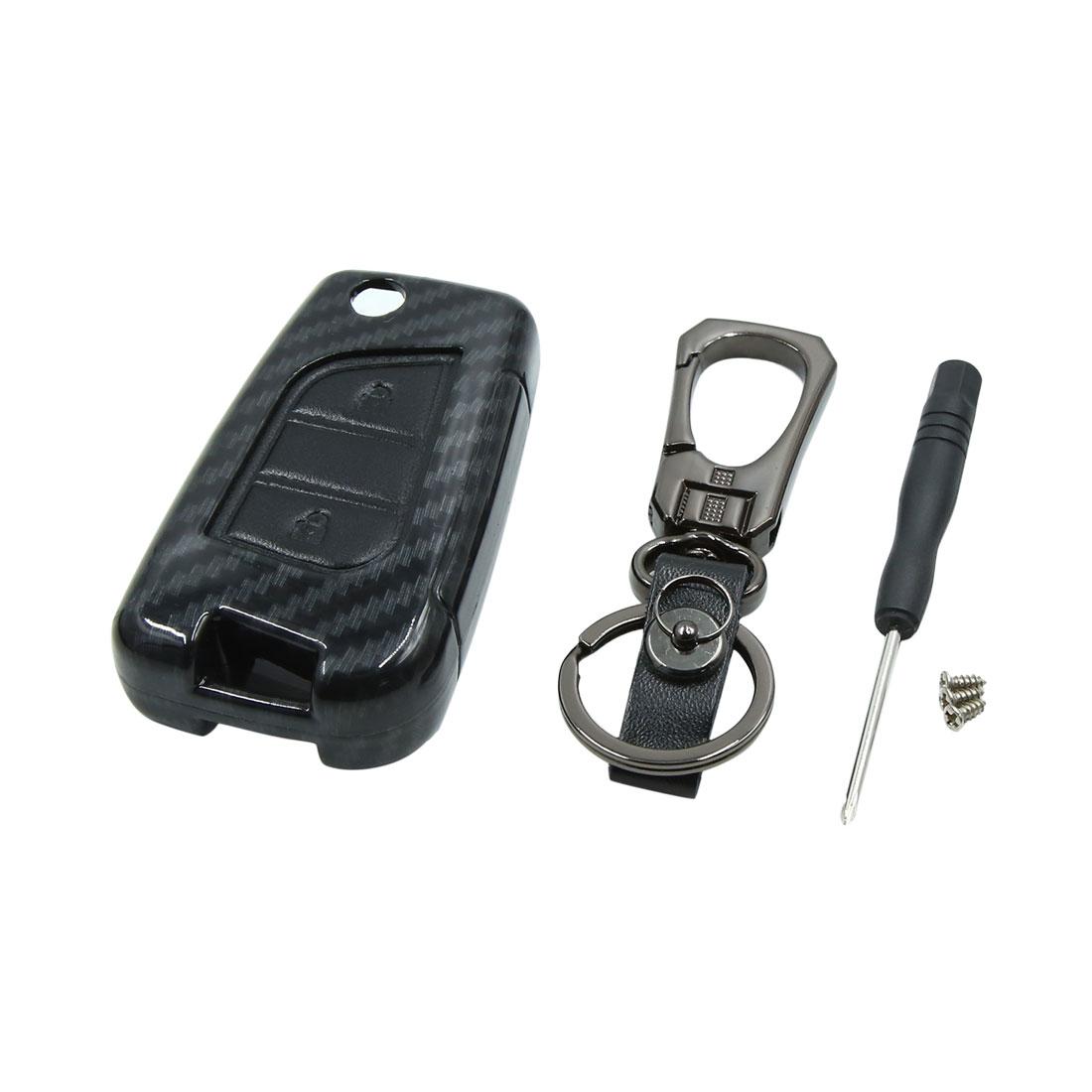 Black Dark Gray 3 Button Car Keyless Entry Remote Key Case Holder Shell Cover