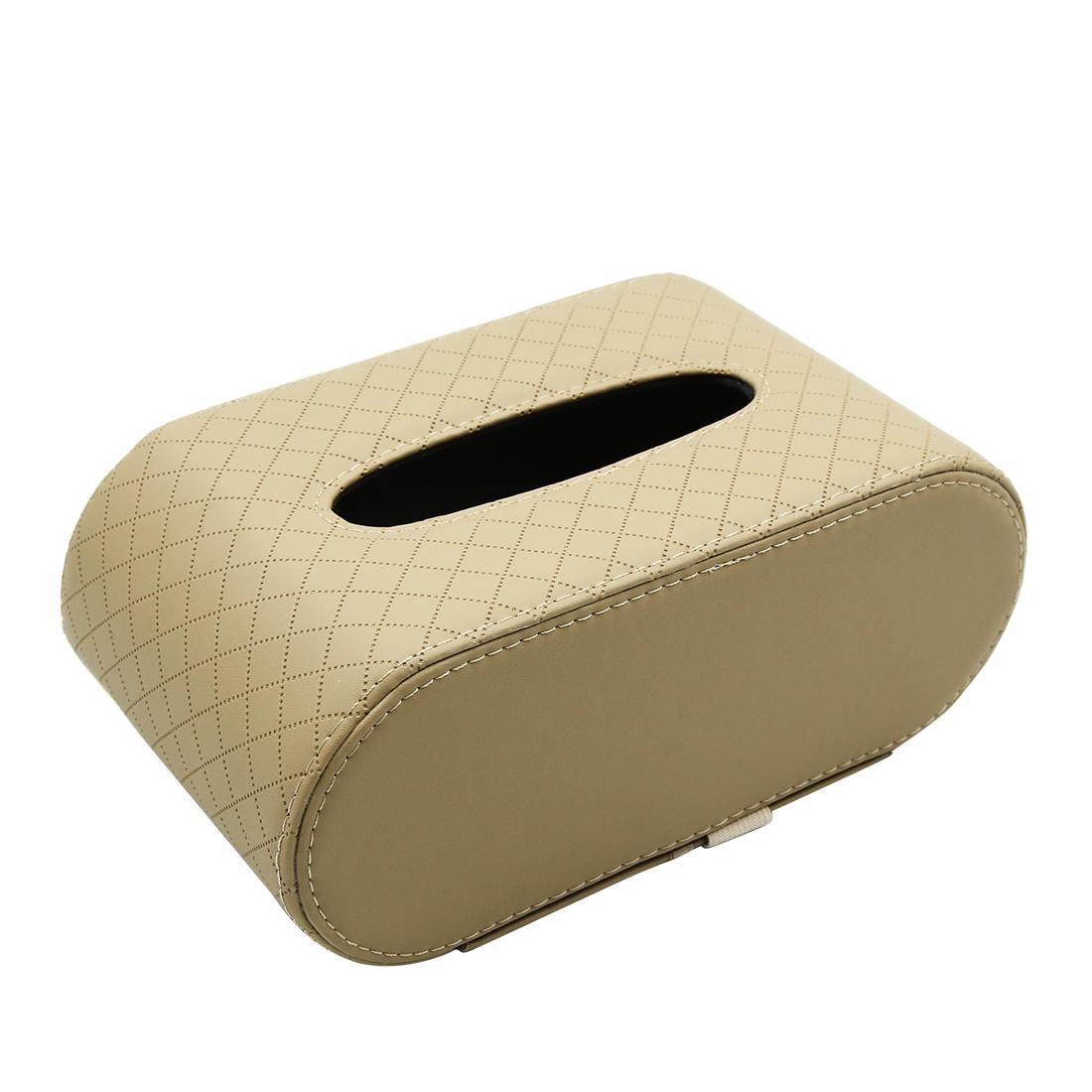 Beige Faux Leather Car Center Console Armrest Tissue Box Paper Napkin Holder
