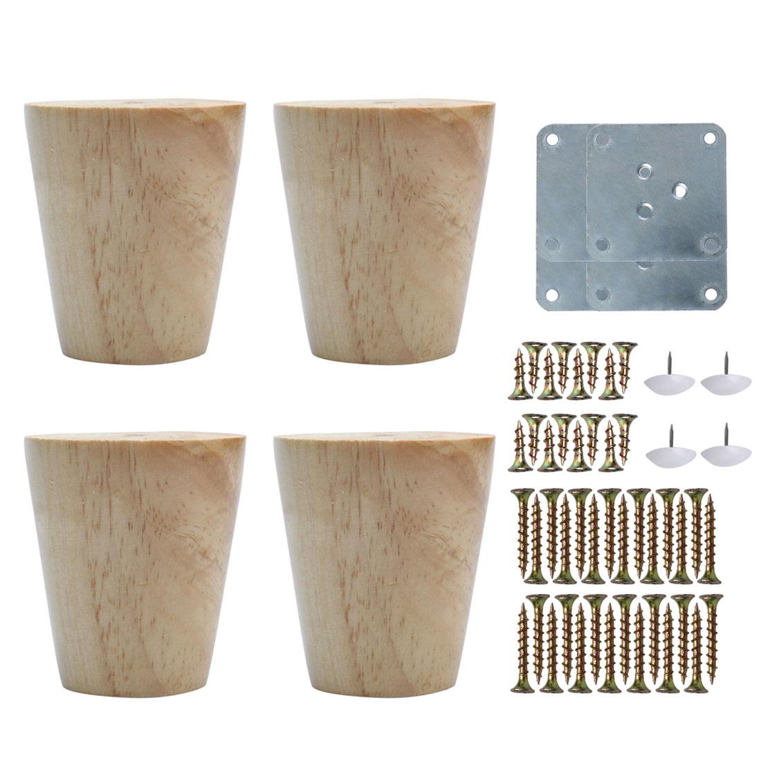 "3"" Wood Furniture Leg Chair Desk Cabinet Feet Replacement Height Adjuster 4pcs"