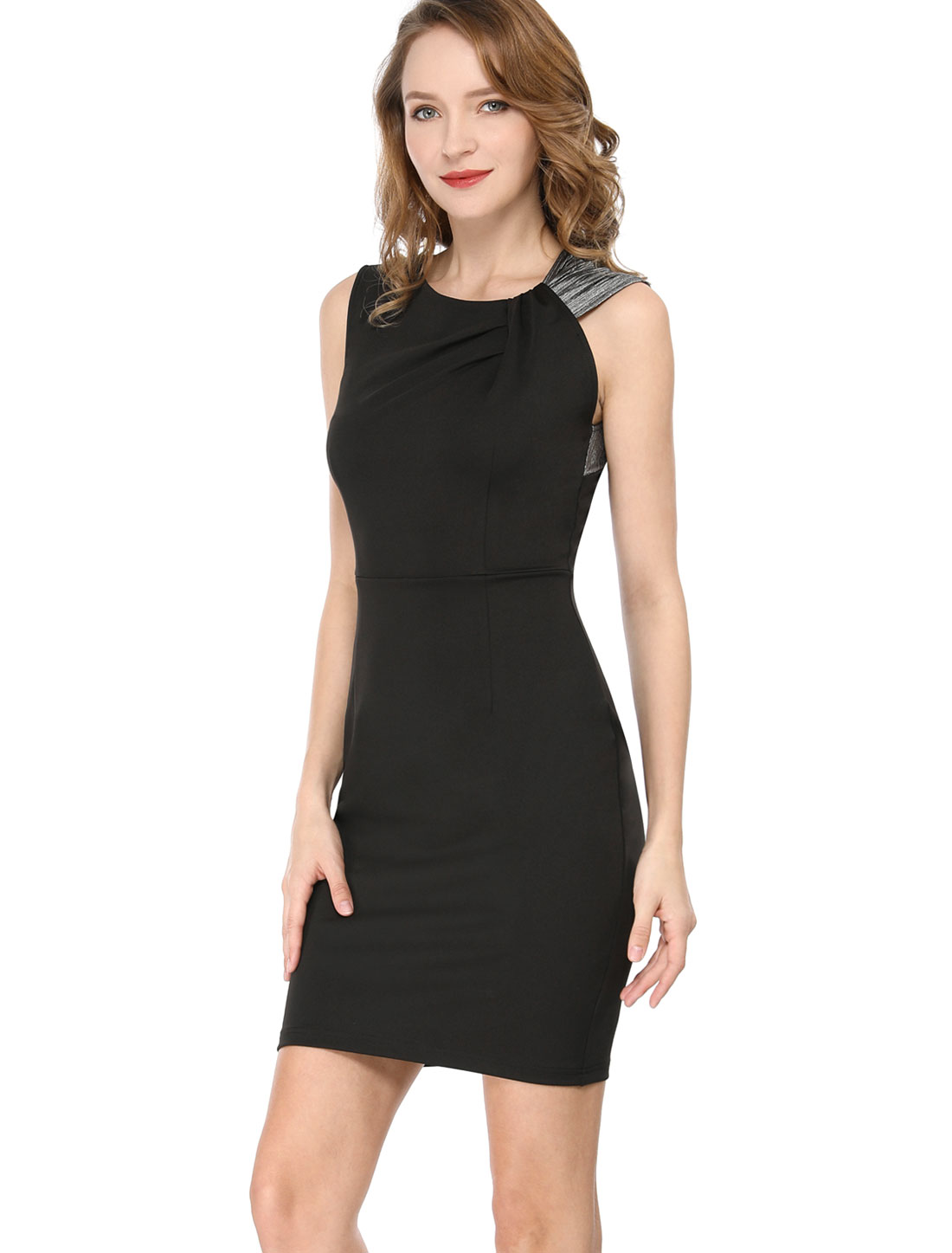 Allegra K Women's Metallic Shiny Shoulder Party Sheath Dress Black S
