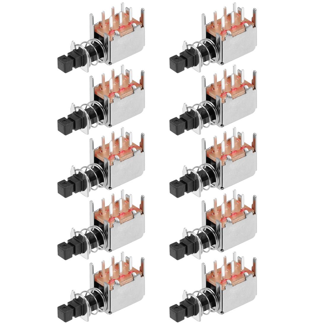 Push Button Switch DPDT 6 Pin 1 Position Self-Locking Black 10pcs