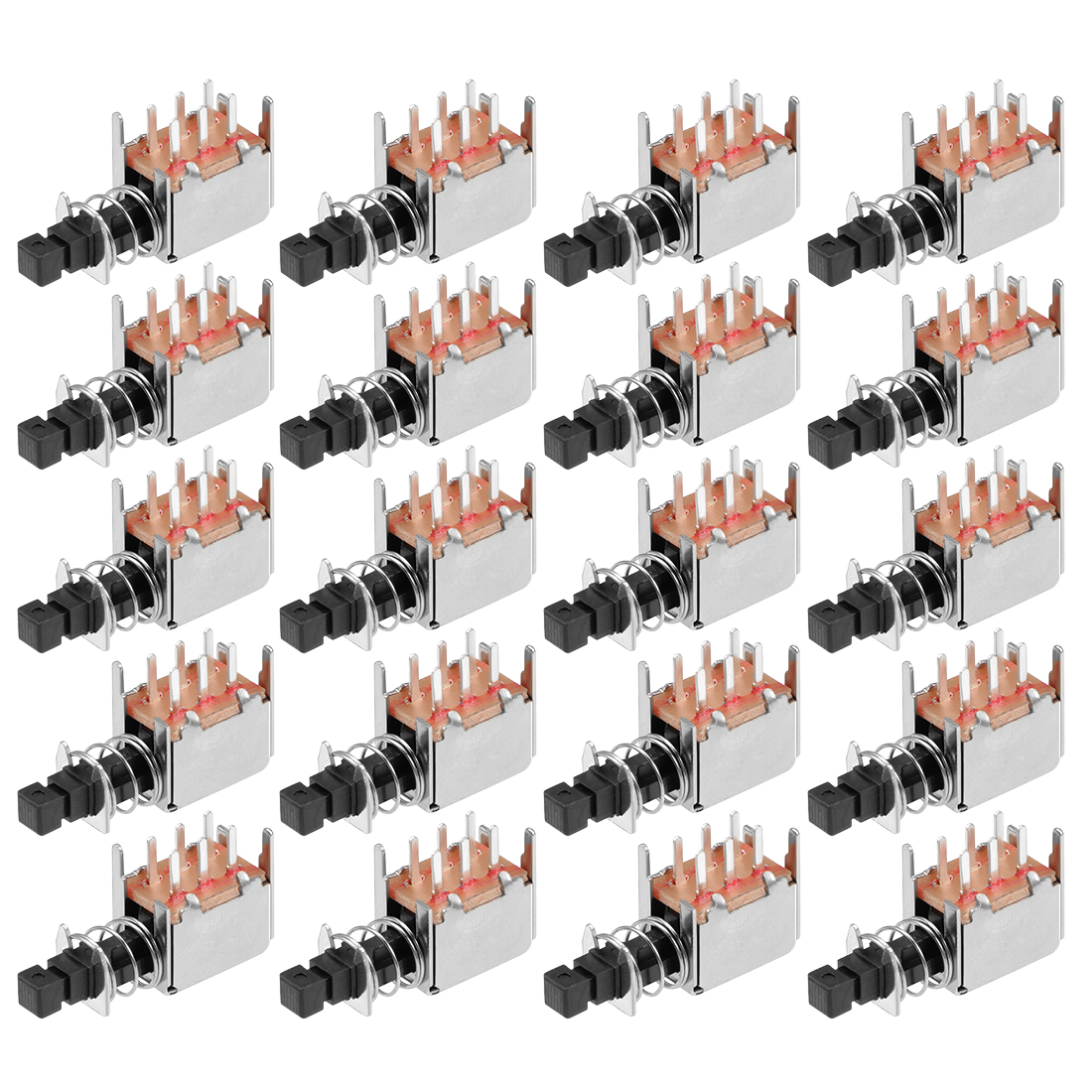 Push Button Switch, DPDT 6 Pin 1 Position Self-Locking Black 20pcs