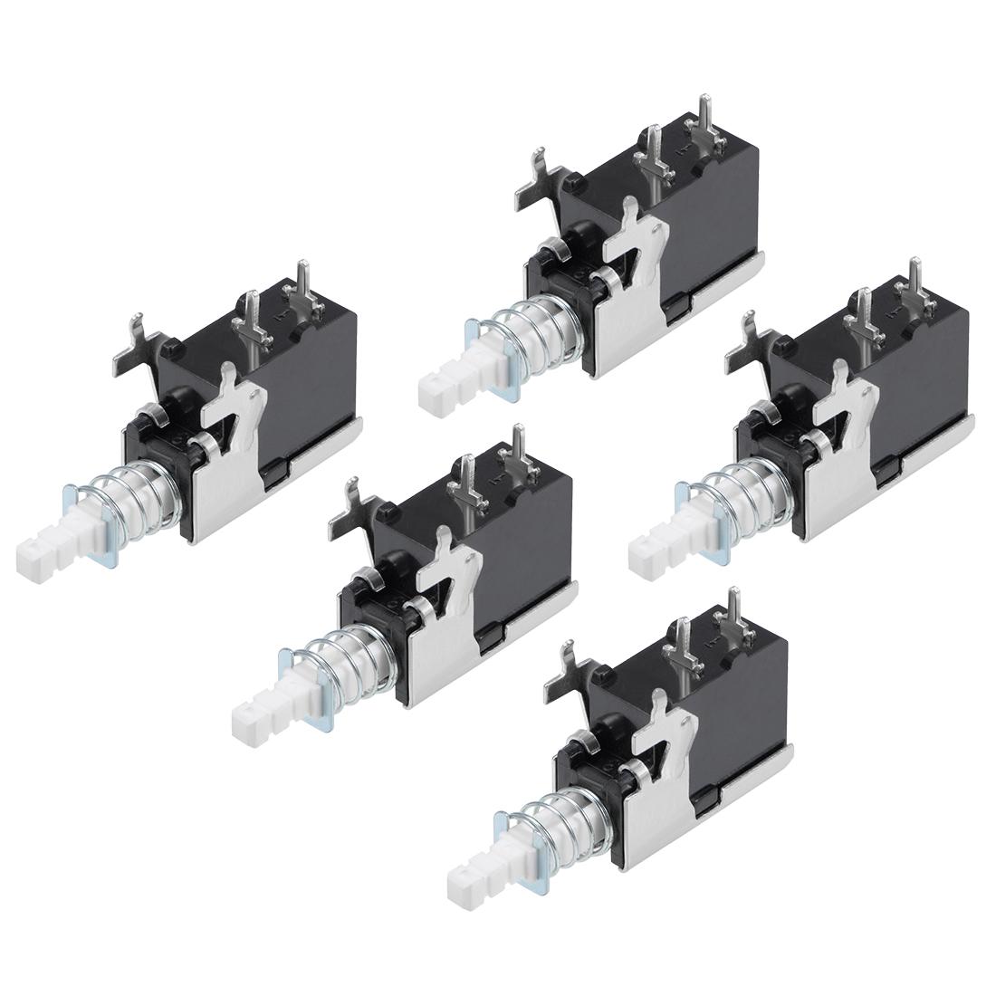 Push Button Switch 8A 250V SPST 2 Pin 1 Position Self-Locking Black 5pcs