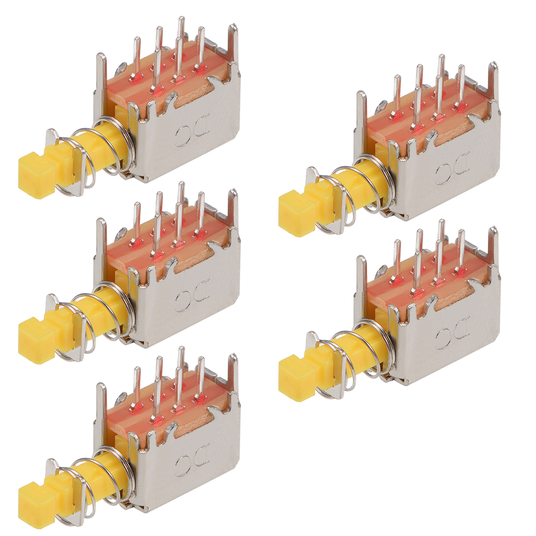 Push Button Switch DPDT 6 Pin 1 Position Self-Locking Yellow 5pcs
