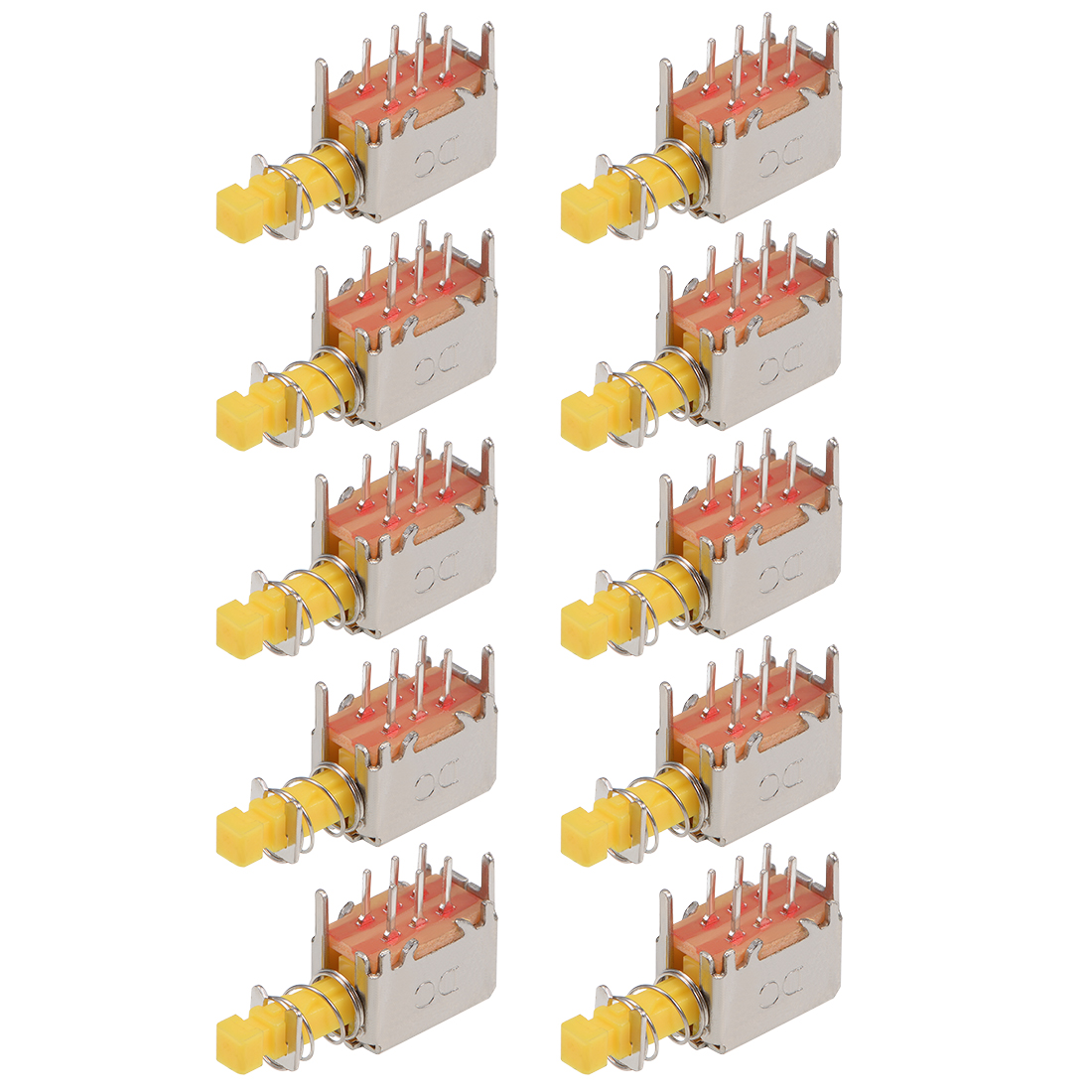 Push Button Switch DPDT 6 Pin 1 Position Self-Locking Yellow 10pcs