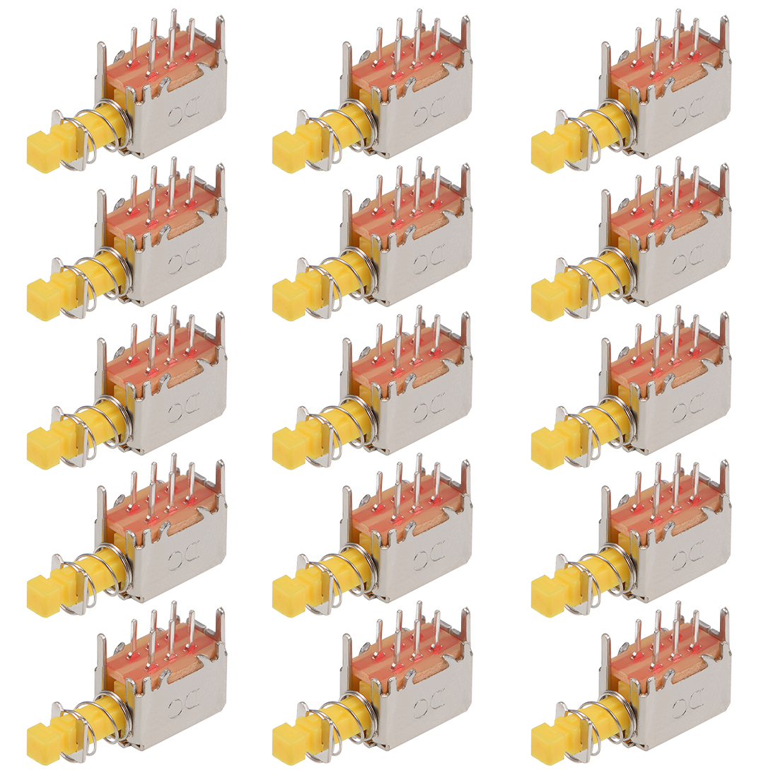 Push Button Switch DPDT 6 Pin 1 Position Self-Locking Yellow 15pcs