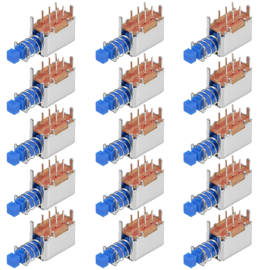 Push Button Switch DPDT 6 Pin 1 Position Self-Locking Blue 15pcs