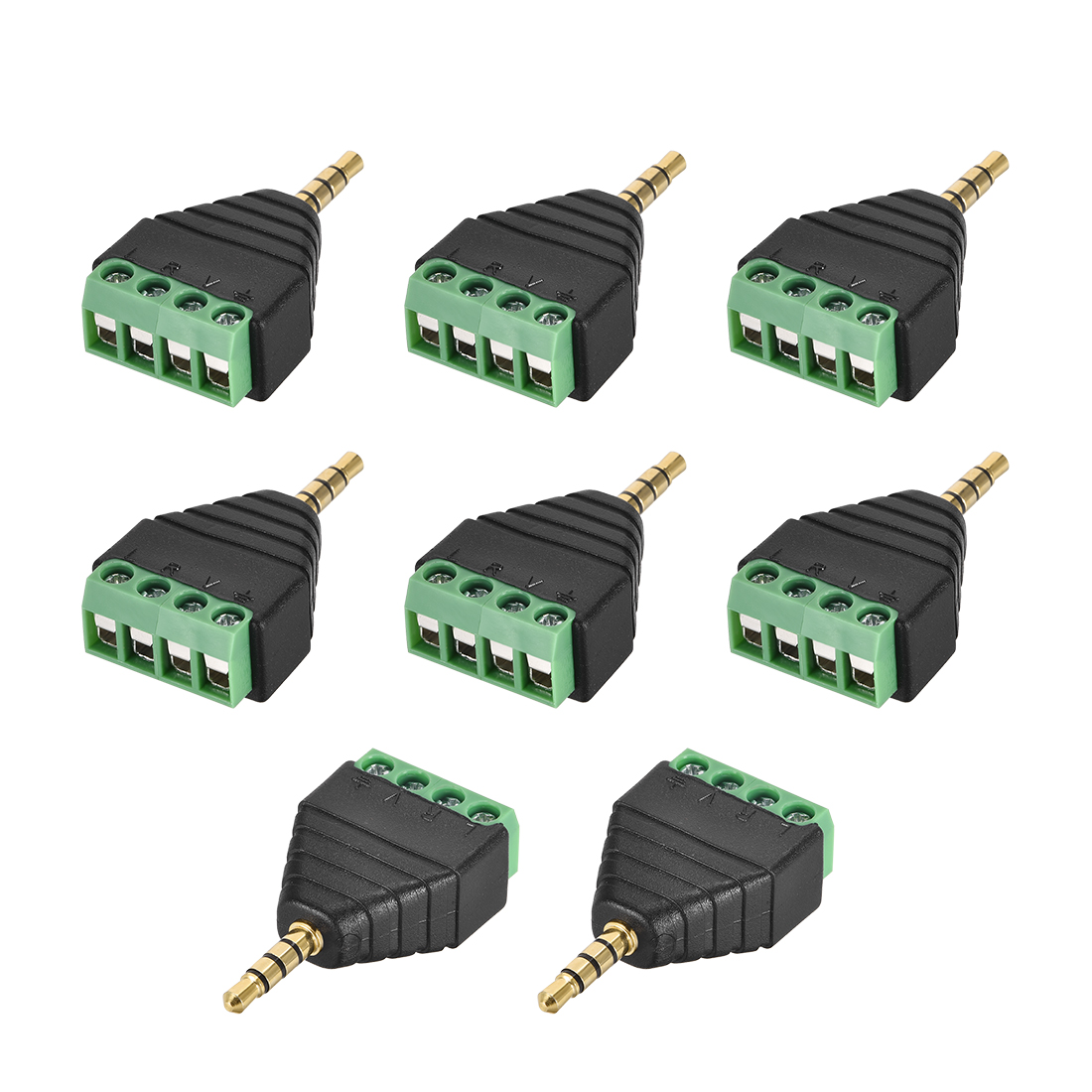 3.5mm 4 Pole Male to AV 4 Screw Terminal Audio Video Connector Adapter 8pcs